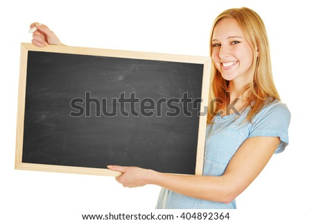 Happy woman teacher holding chalk and blackboard in her hands