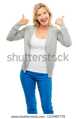 Happy woman thumbs up isolated on white background