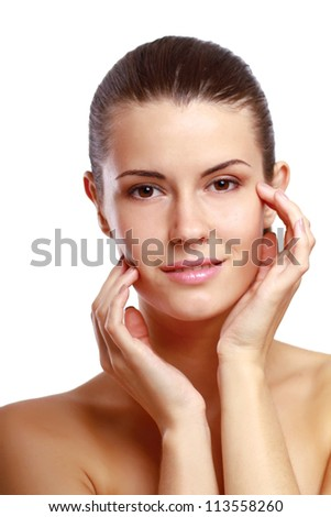Happy woman touching her face isolated on whire background