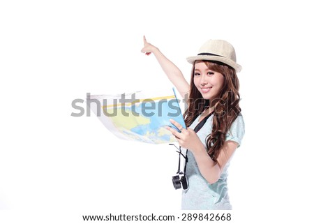 Happy woman tourist travel holding camera and map isolated on white background, asian - stock photo