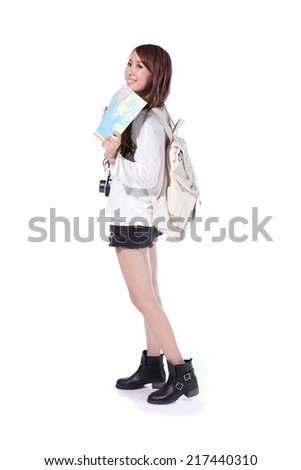 Happy woman tourist travel holding passport and camera and map in full length isolated on white background, asian - stock photo