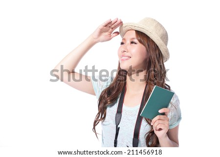 Happy woman tourist travel holding passport look to copy space isolated on white background, asian