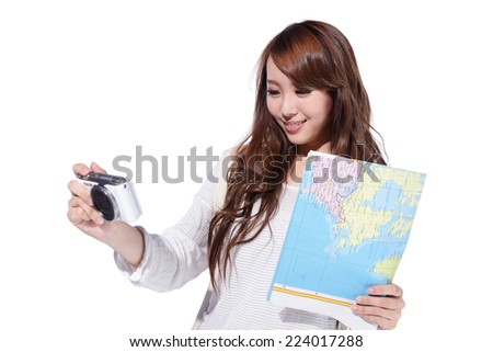 Happy woman tourist travel with camera and map isolated on white background, asian - stock photo