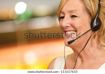 Happy Woman Using Headphone, Outdoors