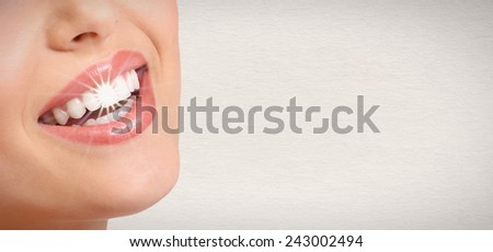 Happy woman white shining teeth. Dental care.  - stock photo