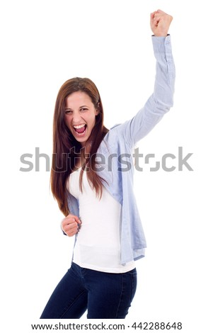 Happy woman winning with raised arms, isolated on white background - stock photo