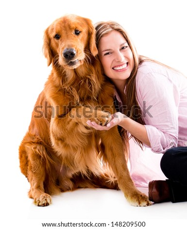 Happy woman with a cute dog - isolated over white background - stock photo