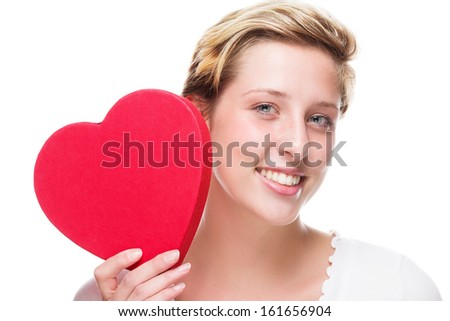 happy woman with a red heart on white background