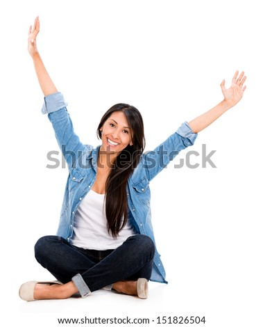 Happy woman with arms up - isolated over a white background - stock photo