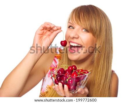 Happy woman  with cherries - stock photo