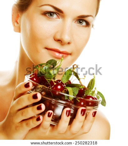 happy  woman with cherries over white . - stock photo