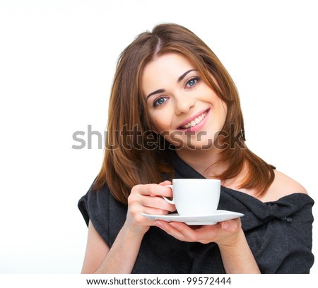 Happy woman with coffee cup isolated over white background - stock photo