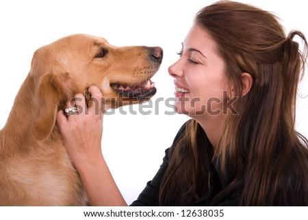 Happy woman with dog. - stock photo