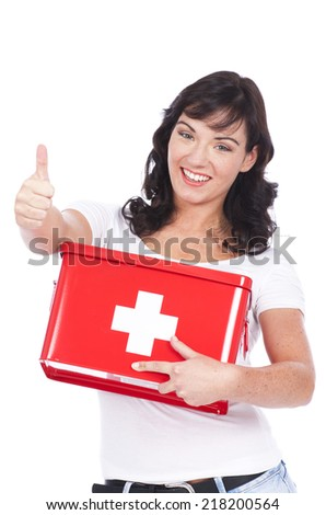 Happy woman with first aid box