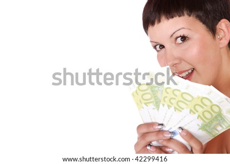 Happy woman with group of euro bills Isolated on white background