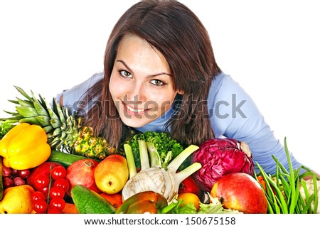 Happy woman with group of fruit and vegetables. Isolated.