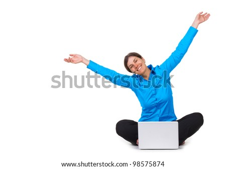 Happy woman with laptop computer isolated on white