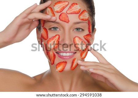 happy woman with mask of strawberries isolated on white