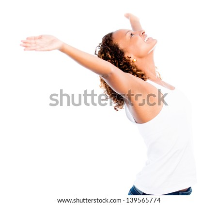 Happy woman with open arms - isolated over a white background - stock photo