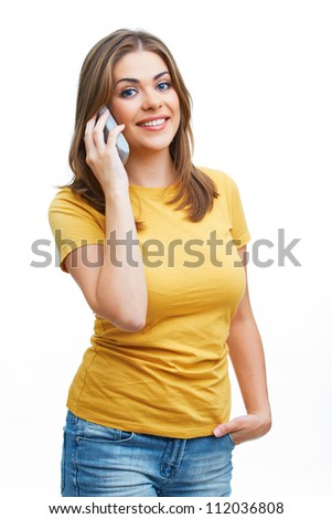Happy woman with phone isolated on white - stock photo