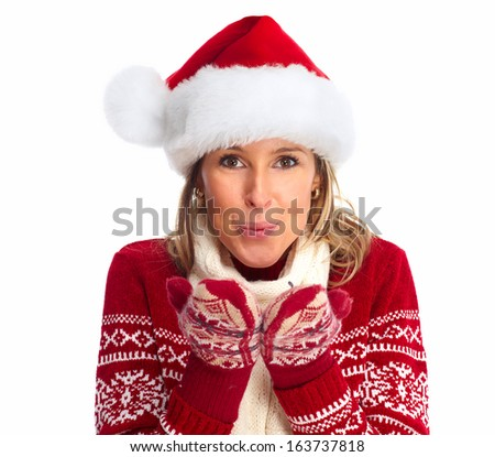 Happy woman with santa hat isolated over white background. - stock photo