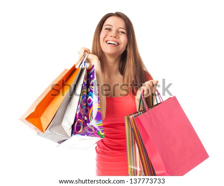 Happy woman with shopping bags, isolated on white
