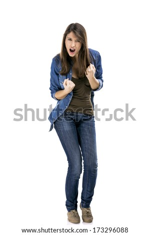Happy woman with the achieved success, isolated over white background - stock photo