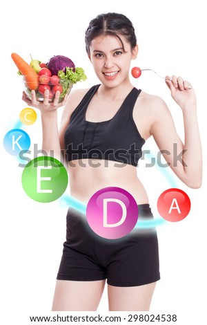 Happy woman with vitamin icons circulating around her on white background. - stock photo