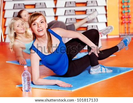 Happy women group in aerobics class.