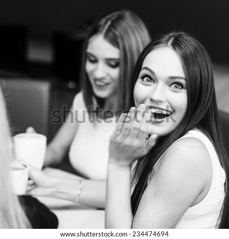 Happy women holding coffee cup while looking at each other in cafe - stock photo
