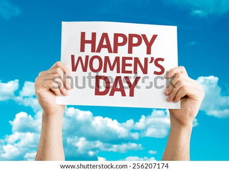 Happy Women's Day card with sky background - stock photo