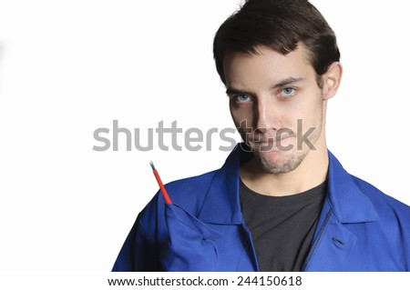 Happy worker in blue overall - stock photo