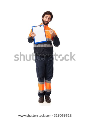 happy worker man with inventory