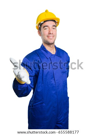 Happy workman welcoming on white background