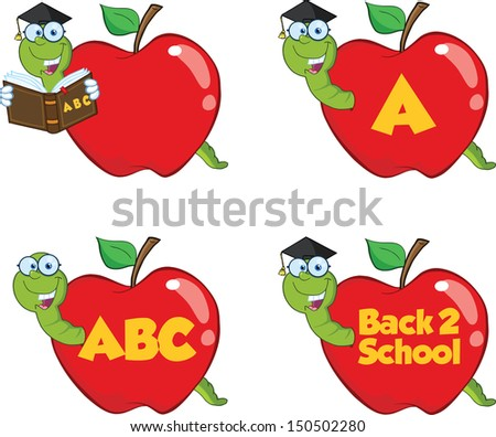 Happy Worm In Red Apple. Set Raster Collection. - stock photo