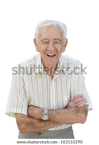 Happy 90 year old senior man standing isolated on white background