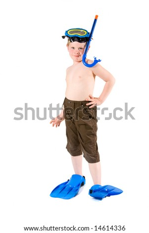 Happy 6 years old kid (boy) posing in  scuba diving and mask, ready for summer vacation. Isolated on white.