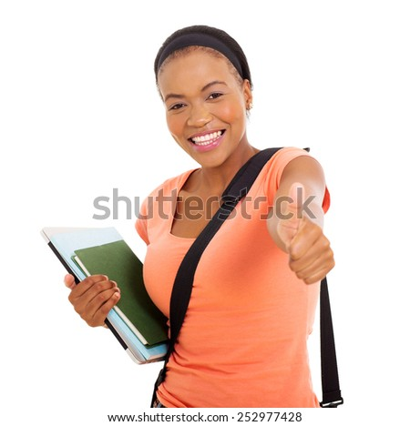 happy young african american college girl thumb up on white background - stock photo