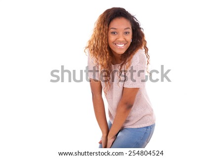 Happy young african american isolated on white background - Black people - stock photo