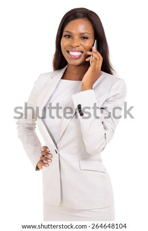 happy young african business woman talking on cell phone - stock photo