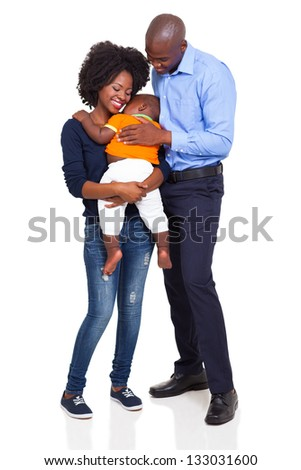 happy young african family full length portrait isolated on white background - stock photo