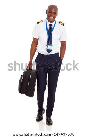 happy young airline pilot carrying briefcase isolated on white background - stock photo
