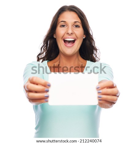Happy Young amazed female holding blank card - stock photo