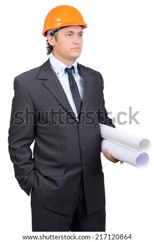 Happy young architect engineer with roll of paper on a white background - stock photo