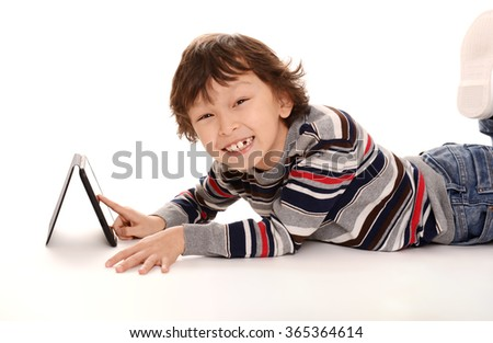 happy young asian boy on white background