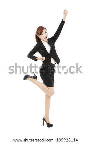 happy young asian business woman with success gesture