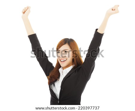 happy young asian business woman with success gesture over white background