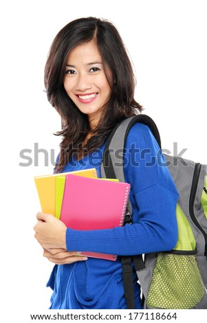 happy young asian student isolated over white background