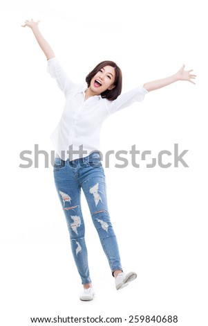 happy young Asian woman hands up isolated on isolated on white background. - stock photo