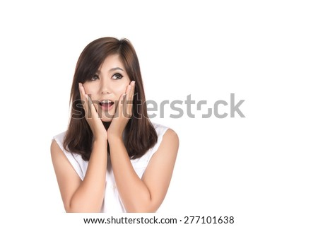 Happy young Asian woman surprised excited with blank copyspace area for text or slogan,Portrait of beautiful Asian woman,Thai girl,Positive human emotion facial expression,isolated on white background